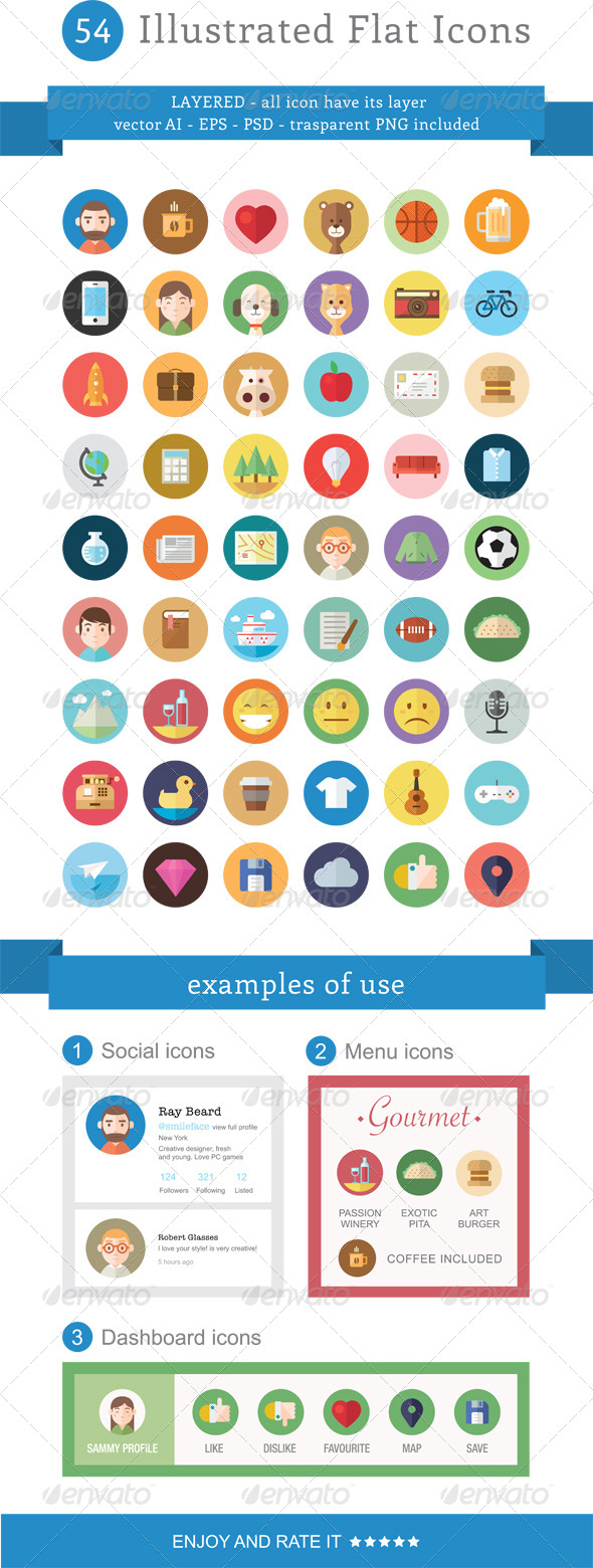 FREE High quality 54 Illustrated Flat Icons